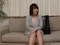 Short-haired Asian honey stripping and putting a dick in her mouth