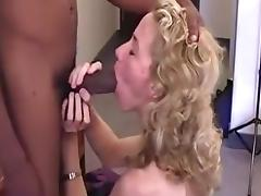 Interracial sex with blonde babe sucking huge black cock and ride it with her tight pink pussy