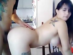 Round ass and nice big titty babe enjoys hard fuck on the webcam