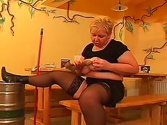 Euro bbw mature in stockings threesome at the restaurant