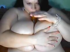 BBW, BBW, Dildo, Masturbation, Webcam, Big Natural Tits