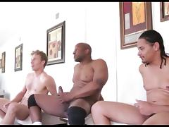 Blowbang, Cum, Hardcore, Interracial, Swallow, Blowbang