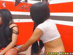 Playful Tranny Couple Jerking on Cam
