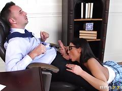 sexy babe sucks on her teacher's big rod