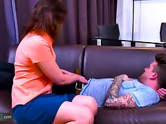 Horny mature granny lady is fucked hardcore way by handy youngster