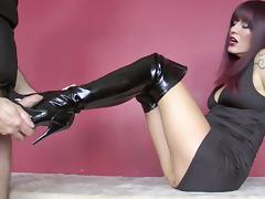 Cum, Boots, CFNM, Cum, Footjob, Leather