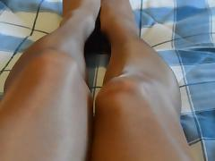 Rubbing pantyhose legs and feet again