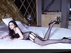 Slim girl in sexy lace bodystocking
