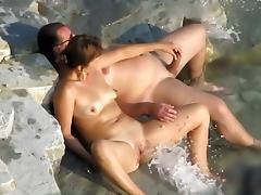 Beach sex in front of friends