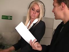 Hot Blond Sales Rep Takes Cock