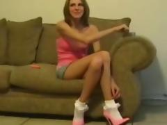 Inch pink heels and frilly socks