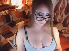 Big Tits Tranny Babe Jerking Off