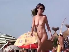 Pussy fingered on a crowded beach