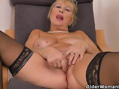Blonde, Blonde, European, Granny, HD, Masturbation