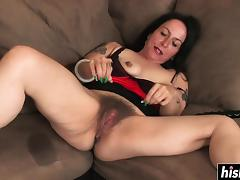 Horny milf is using her fav toy