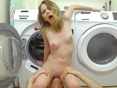 Mind blowing sex at the laundromat with a slutty teen