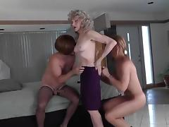 Fabulous Amateur Shemale video with Threesome, Stockings scenes