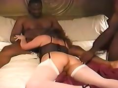 Horny Amateur record with Stockings, Threesome scenes
