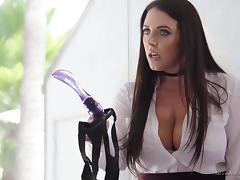 a sex toy deep in her ass @ lesbian strap-on bosses #02