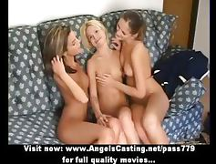 Three superb adorbale lesbian girls gets their pussy licked