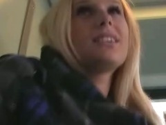 Sexy blonde Angel Wicky Fucking And Blowjob In train toilet