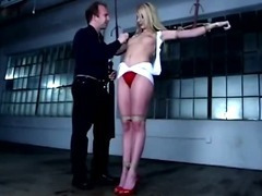 Bound bdsm fetish slut whipped by her master