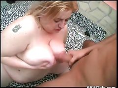 Blonde fat slut loves to suck and ride