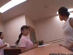 4 hand Massage For Co workers lesbian girl on girl lesbians