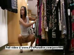 Jamee teenage brunette babe in a clothes shop