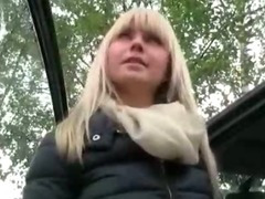 Big titted amateur blondie girl sucks and fucked in the backseat porn video