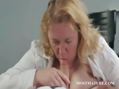 Cougar giving oral pleasure to a dude