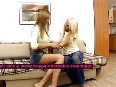Alla and Jodi lusty lesbo girls undressing