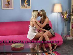 Salma and Karie lusty lesbo girls teasing