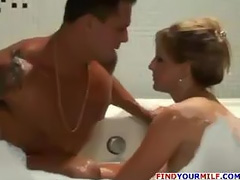 MILF enjoys hot bath and big cock