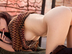 Puffy nippled bombshell strips off and masturbates by rubbing her pussy outdoors