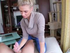 Busty euro blonde finally agrees to give hand and head in room