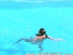 Three chicks secret sex by the pool