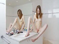 Beautiful sknny girl tease for mirror
