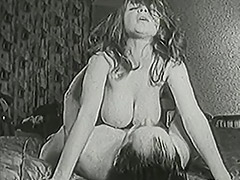 Busty Shaved Babe Fucked Twice with a Creampie 1950