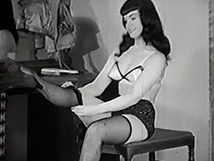 Raven Haired Beauty gets Dressed 1950 porn video