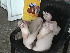 Slavic Brunette Girl Spreads Her Legs to Shock Us with Her Awesome Hairy Pussy porn video
