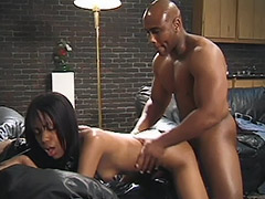Ebony Couple is Performing a Unshaven Hardcore on a Black Leather Sofa porn video