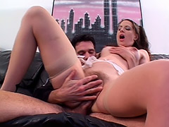Hot Babe Lena Ramone Has Grown a very Nice Hairy Pubis that Didn't Help Her from Being Fucked and Blowjob