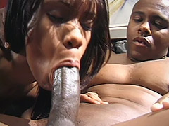 Black Amateur Couple Performs a Hairy Fucking Action on a Black Leather Sofa porn video