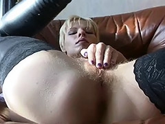 Hairy Russian Amateur is Left Alone in Apartments with a Fucking Machine porn video