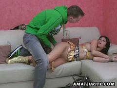 Horny amateur brunette tied for hardcore fucking
