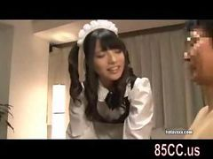 so cute maid gives awesome titsjob