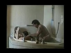 UK 3 some in bathroom Two plump English gals in the bath with a tubby guy take it in turn to be shag