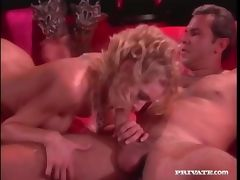 Sexy teased out blonde hair on this fuck slut porn video