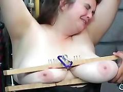 Fat BDSM slut in black corset